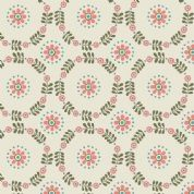 Lewis & Irene Home Sweet Home - 4163 - Daisy Chains, Stylised Floral on Cream - A98.2 - Cotton Fabric